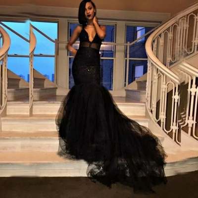 Sexy V-Neck Mermaid Black Prom Dresses  Tulle Sequins Evening Gowns SK0126_3