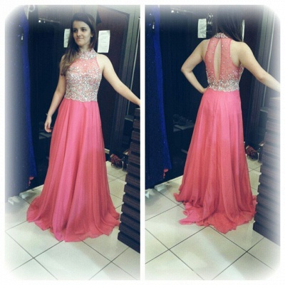 Sparkly Crystals Prom Dresses  Long Chiffon Hater Evening Gowns BA4580_4