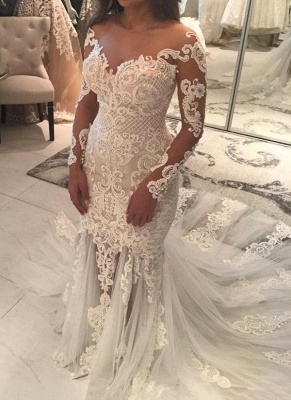 Mermaid Lace Appliques Sexy Tulle Wedding Dress | Long Sleeve Bride Dress With Long Train_1