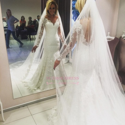 Long-Sleeve Mermaid Lace Glamorous Wedding Dress_1