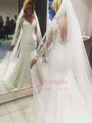 Long-Sleeve Mermaid Lace Glamorous Wedding Dress_2
