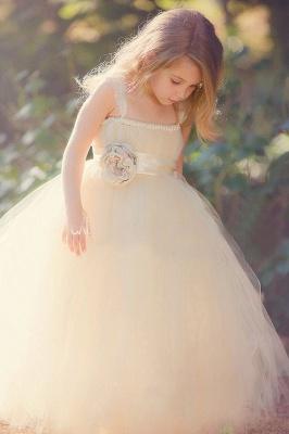 Lovely Light Champagne Cute Girls Pageant Dress Puffy Skirt Tulle  Flower Girl Dress_1