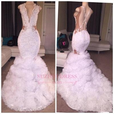 Lace Deep-V-neck Criss-cross Ruffles  Mermaid Sleeveless Appliques Prom Dress BA5316_1