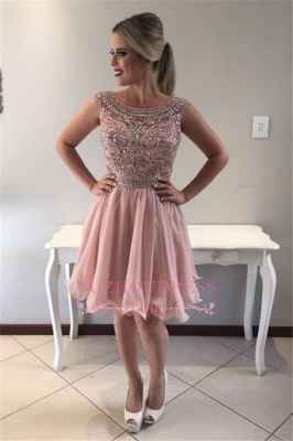 Pink Short Sleeveless Homecoming Dress |  A-line Crystal Cocktail Dresses_4