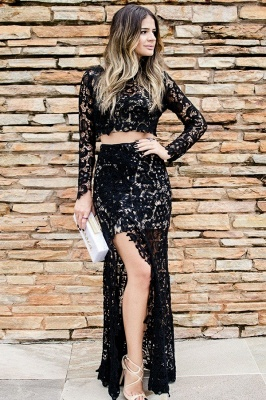 Cheap Two-Pieces Long-Sleeves Lace Prom Dress Sexy Slit Black Appliques Party Dresses On Sale