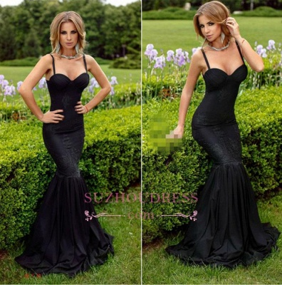Spaghetti-Straps Lace Sweetheart Mermaid Black Sexy Evening Dress_3