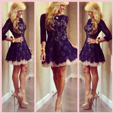New Arrival Cocktail Dresses Full Lace A-line Short Mini Homecoming Dresses_2