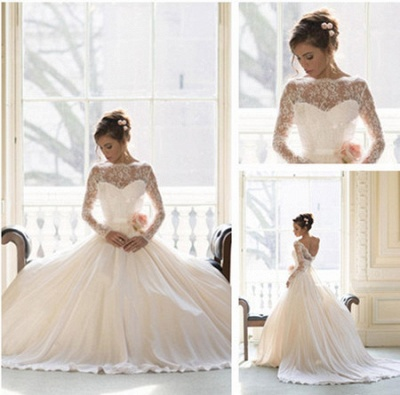 Elegant Lace Ball Gown Princess Wedding Dresses  Long Sleeve Custom Made Bridal Gown_2