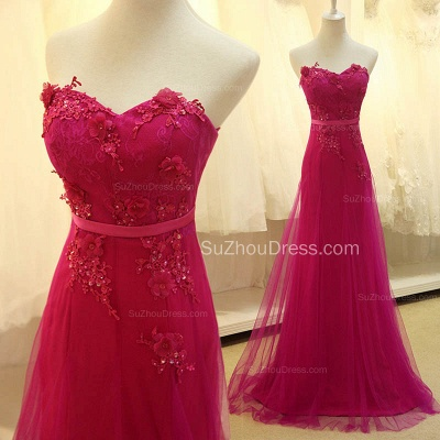 Elegant Sweetheart Applique Fushcia Tulle Dresses for Junior A Line BeautifuL Long Custom Prom Dresses with Flowers_3