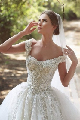 New Arrival Off Shoulder Long Bridal Gown  with Beadings Lace Applique Ball Gown Wedding Dress BO7879_2