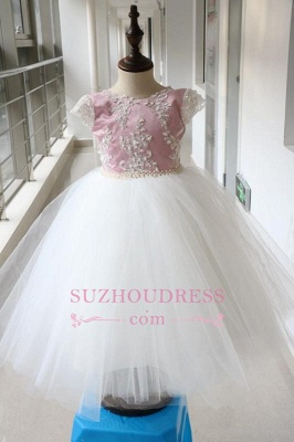 Pink Tulle Short-Sleeves Appliques Beadings Flower-Gril Dresses_3