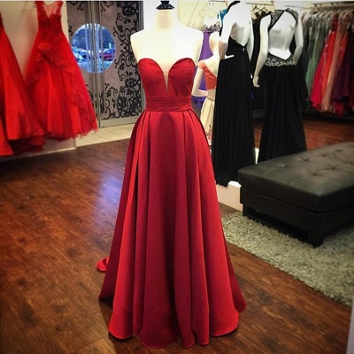 Red Satin Sweetheart  Evening Gowns Long A-line Elegant  Prom Dress_3