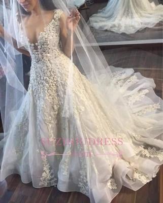 Princess Sleeveless Appliques Gorgeous Lace Wedding Dress_1