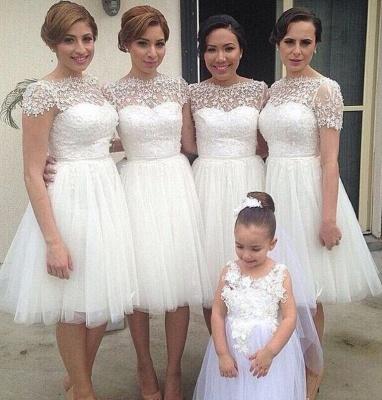 Short Sleeve Knee Length Tulle Wedding Party Dress  Lace Short  Bridesmaid Dress_1