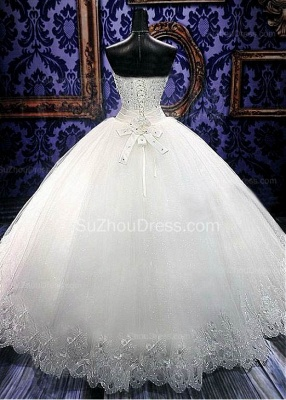 Crystal White Sweetheart Ball Gown Bridal Dress Sparkly Lace Floor Length Wedding Dresses for Women CJ0354_2