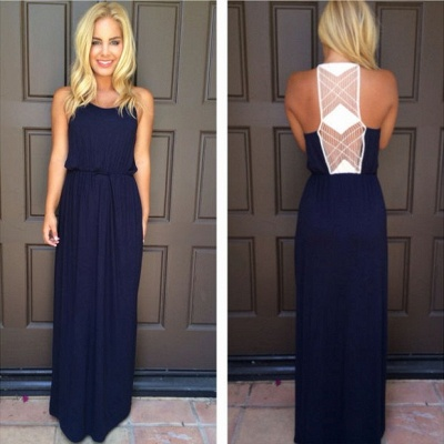 Halter Chiffon Navy Blue Summer Beach Prom Dress Simple Chiffon Evening Gown_4