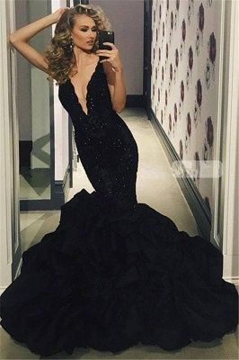 Sexy V-neck Beads Black Prom Dress | Mermaid Ruffles Sleeveless Evening Gown FB0309_1