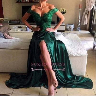 Dark Green Lace Elegant Appliques Prom Dresses Open Back Off-the-shoulder Evening Dress  BA4296_1