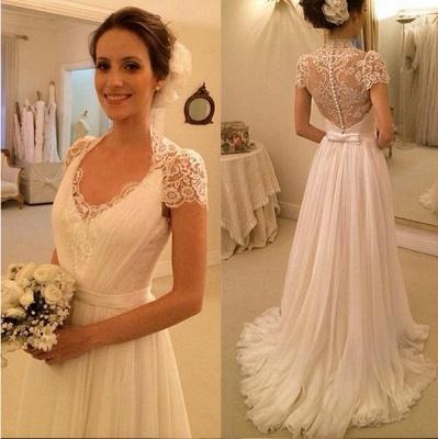 A-Line White Short Sleeve Long Wedding Dress Latest Chiffon Long Plus Size Bridal Gown_2
