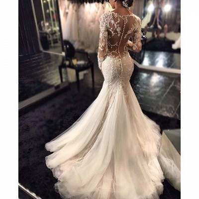 Lace Mermaid  Breathtaking Wedding Dresses V-neck Long Sleeve Modern Bridal Gowns WE0037_4