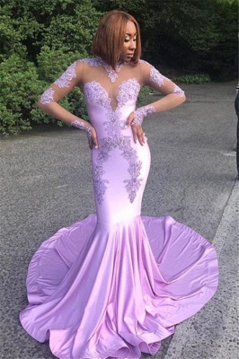 Sexy Long Sleeves Mermaid Prom Dresses  High Neck Appliques Evening Gowns_1