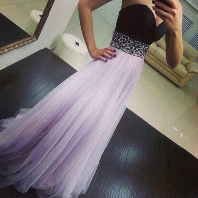 Sweep Train Prom Dresses Sweetheart Sequined Beading Ruched A Line Zipper Chiffon Evening Gowns_5