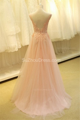 Formal Lace Tulle Long Pink Prom Dresses Open Back Floor Length Beautiful Zipper Plus Size Cute Evening  Dress TB0076_2