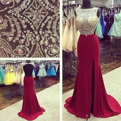 Sexy Bateau Backless Evening Dresses Burgundy Prom Dress With Beading_4