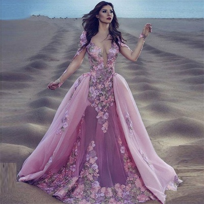 Long Sleeve Pink Prom Dress  Sheer Tulle Overskirt Appliques Gorgeous Evening Dress_4