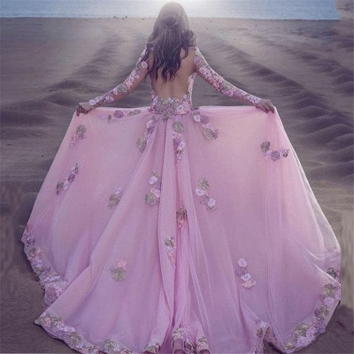 Long Sleeve Pink Prom Dress  Sheer Tulle Overskirt Appliques Gorgeous Evening Dress_3