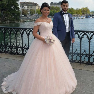 Latest Off Shoulder Ball Gown Princess Dress Tulle Lace Applique  Wedding Dress_4