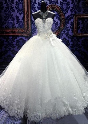 Crystal White Sweetheart Ball Gown Bridal Dress Sparkly Lace Floor Length Wedding Dresses for Women CJ0354_1