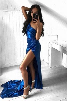 Sexy Royal Blue One Shoulder Prom Dresses    Side Slit Ruffles Evening Dresses_1