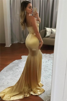 Sweetheart Sparkle Crystals Gold Evening Dresses Sexy Mermaid   Prom Dress_3