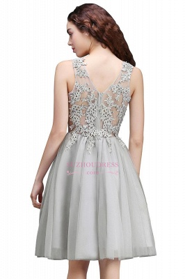 Appliques Tulle Sleeveless A-Line Silver Short Homecoming Dress_6