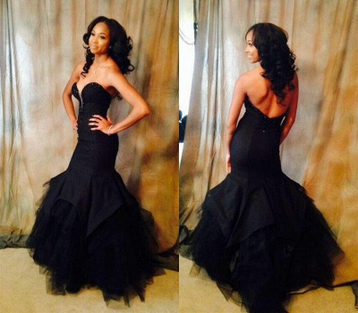 Black Mermaid Sweetheart Party Dress Sexy Backless Floor Length  Evening Gown BA3860_3