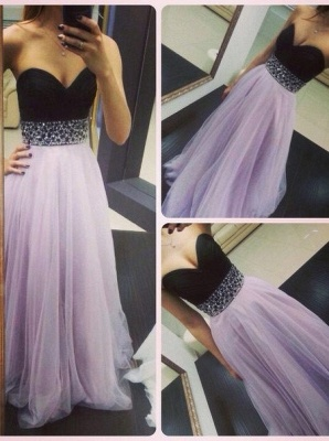Sweep Train Prom Dresses Sweetheart Sequined Beading Ruched A Line Zipper Chiffon Evening Gowns_6