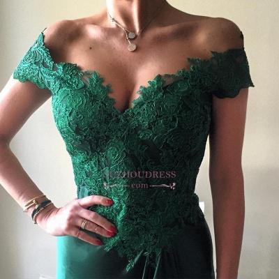 Dark Green Lace Elegant Appliques Prom Dresses Open Back Off-the-shoulder Evening Dress  BA4296_4
