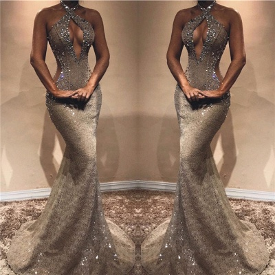 Halter Open Back Sexy Prom Dresses  | Shiny Beads Crystals Illusion Mermaid Evening Gown_3