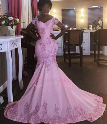 Mermaid Appliques Short-Sleeves Newest Pink V-Neck Prom Dress_1