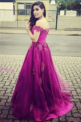 A-Line Off Shoulder Lace Prom Dress with Beadings Sweep Train Formal Special Occasion Gowns_1