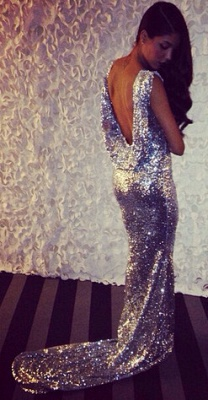 Sequined Mermaid Sleeveless Long Evening Dresses Latest Sweep Train  Backless Formal Occasion Dress BA7657_2