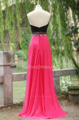Sweep Train Prom Dresses Sweetheart Sequined Beading Ruched A Line Zipper Chiffon Evening Gowns_4