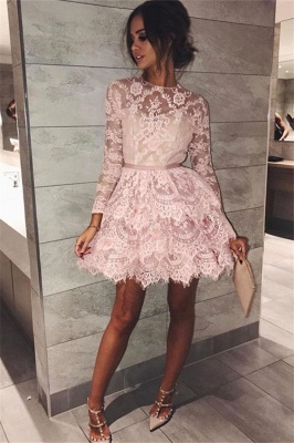 Pink Lace Long Sleeve Homecoming Dresses  Elegant Short Party Dress with Sash_1