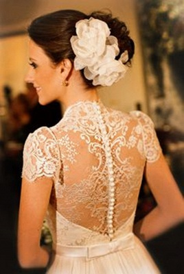 A-Line White Short Sleeve Long Wedding Dress Latest Chiffon Long Plus Size Bridal Gown_3