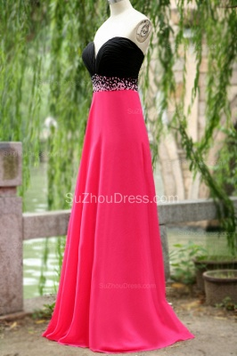 Sweep Train Prom Dresses Sweetheart Sequined Beading Ruched A Line Zipper Chiffon Evening Gowns_3