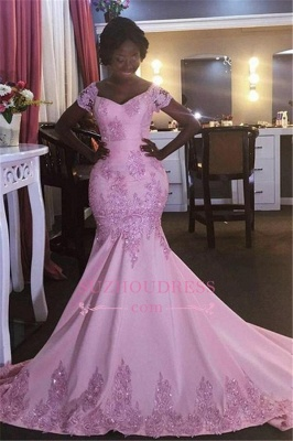 Mermaid Appliques Short-Sleeves Newest Pink V-Neck Prom Dress_2