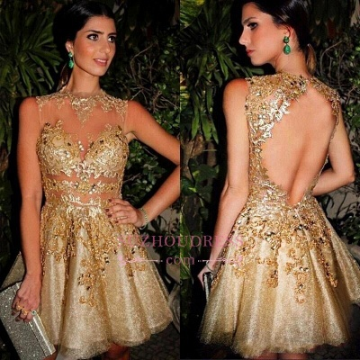 Gold Appliques Short Homecoming Dresses_3