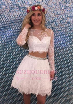 Long Sleeves Lace Short Lovely Party Dress Two Pieces Beadings  Homecoming Dress_1