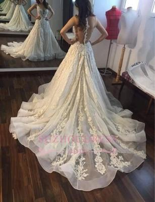 Princess Sleeveless Appliques Gorgeous Lace Wedding Dress_3